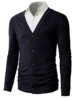 H2H Men's Cotton Blend Fashion Slim Fit Lightweight Cardigan Navy US L/Asia XL (CMOCAL019) from