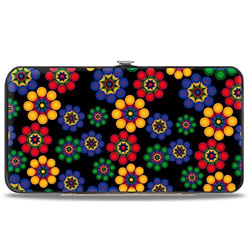 Buckle-Down womens Hinge Wallet - Psychedelic Daisies Black/Multi Color, Multicolor, 7' x 4'
