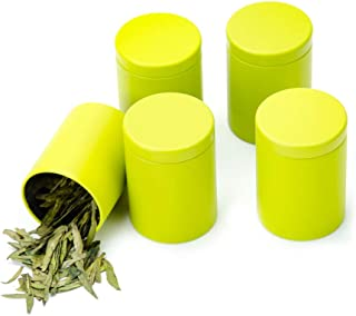 Tianhui Small Tin Can Box with Airtight Lids Canister for Coffee Tea Candy Storage Loose Leaf Tea Tin Containers Storage 5 Pcs (Green, M)