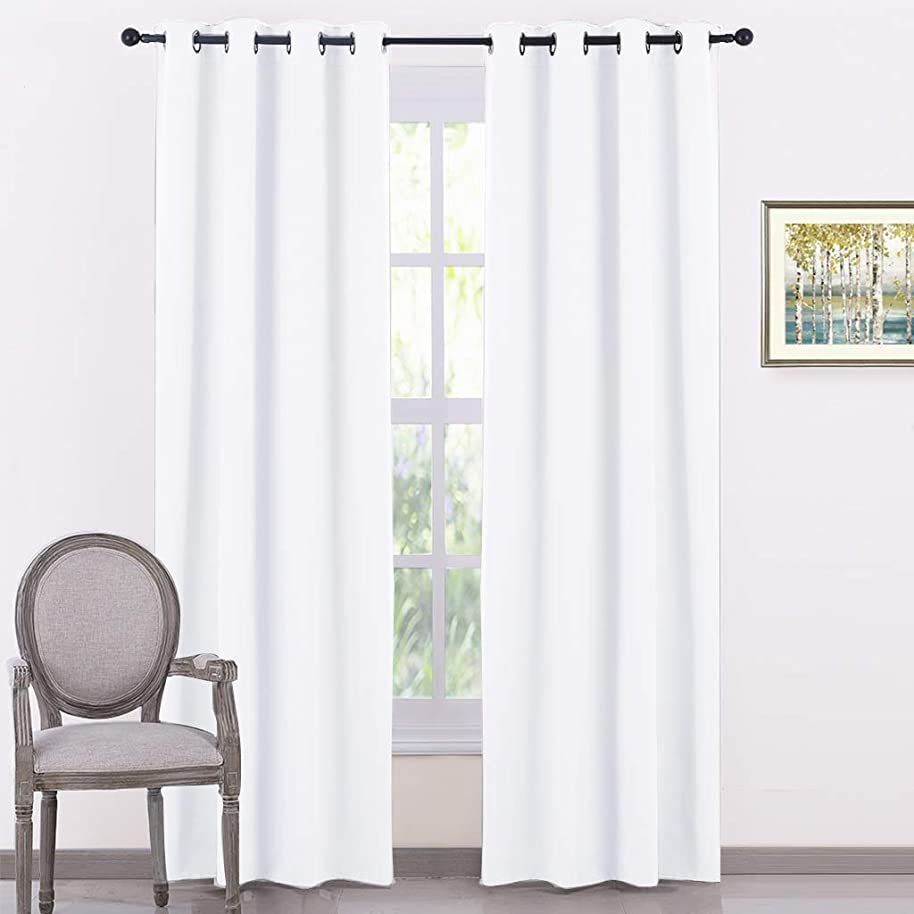 PONY DANCE Home Decor Curtains - Window Panels Elegant Grommet Top Room Darkening Coverings Energy Saving Curtains Draperies for Living Room, Wide 52