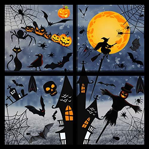 Outus 8 Blatt 160 Stück Halloween Fenster Aufkleber Set Fledermaus Spinne Kürbis Design Fenster Aufkleber Fensterbilder Wandaufkleber für Halloween Gruslig Party Dekorationen