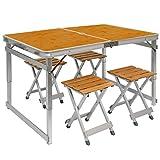 Tavolino da campeggio regolabile in altezza | Tavolo + 4 Sgabelli | Pieghevole formato valigia facile da trasportare | in Legno di Bambu e Alluminio | ideale per picnic giardino spiaggia | ca 110x70cm