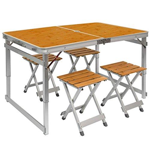 AMANKA Alu Campingtisch Set 110x70cm - Klapptisch mit 4 Stühlen - 2-Fach höhenverstellbarer Falttisch Bambus-Optik