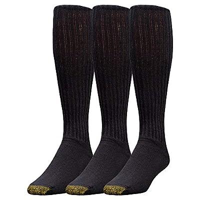 Gold Toe Men's Ultra Tec Performance Over-The-Calf Athletic Socks, 3 Pairs, Black, Shoe Size: 6-12.5