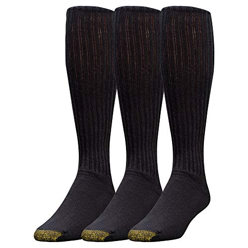 Gold Toe Men's Ultra Tec Performance Over-The-Calf Athletic Socks, Multipairs, Black (3-Pairs), Large