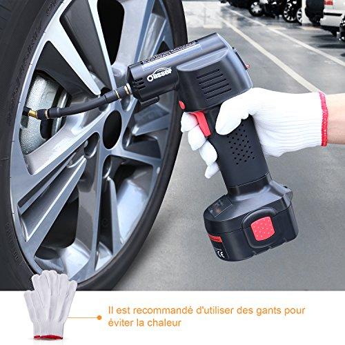 Oasser Compresseur d'Air Portable Gonfleur Electrique Compresseur Voiture Sans Fil avec Ecran LCD à Batterie de Lithium Rechargeable de 2200mAh- 130PSI (P2-Gonfleur)