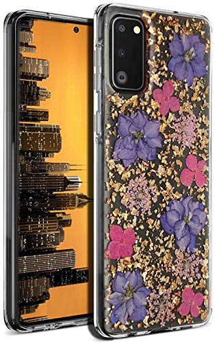 Aokebr Real Flowers Case for Samsung Galaxy S20 + Plus Pressed Dry Petals Glitter Bling Glitter Sparkle Thin TPU Soft Clear Flexible Rubber for Girl Women SamsungS20+ GalaxyS20+ (Purple)