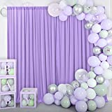 10ft x 10ft Lavender Curtain Backdrop Panels for Baby Shower Parties Weddings Birthday Party Bridal Shower Photoshoot Sheer Backdrop Drapes Chiffon Wrinkle Free Fabric Light Purple Background Curtains