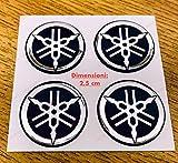 Kit de 4 adhesivos resinados con el logotipo de la marca YAMAHA, efecto 3D, color negro y cromo