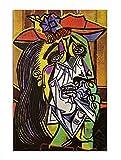 Pablo Picasso Works The Llorando Mujer Óleo Pintura Póster Cuadro Cuadro Cuadro Cuadro Cuadro Cuadro Cuadro Moderno Decoración de Salón (30 x 45 cm), Sin Enmarcado)