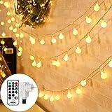 Qedertek Guirnalda Luces Exterior/Interior Enchufe, 13M 100 LED Cadena de Luces de Navidad, 8 Modos, Luces con Control Remoto, Guirnaldas Luminosas para árbol de Navidad, Jardines, Boda(Blanco Cálido)