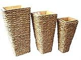 Juego 3 MACETEROS FLOREROS Rattan Metal Altos ROBUSTOS Desmontables Doble Uso