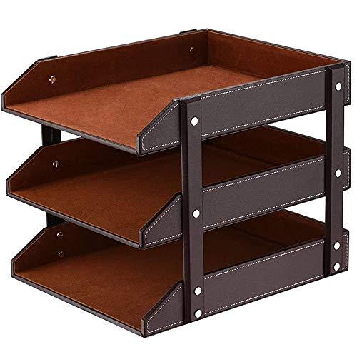 xxz PU Leather Desk Organizer, 3-stufiger stapelbarer Briefkastenhalter Stapelbare Magazine, Postklassifizierung, ideal für das Home Office in Braun