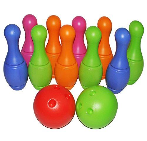 alles-meine.de GmbH XXL - 12 TLG. Set Kegelspiel aus Kunststoff / Plastik - für Außen + Innen - Bunte Farben Kegeln Kegel - für Kinder / Erwachsene groß - Kind Kegelspiel Bowling..