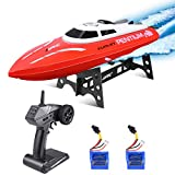 kuman Remote Control Boat, 25KM/H High Speed Waterproof Rc Racing Boat with 180º Flip...