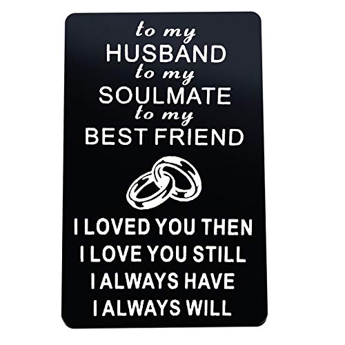 Valentine's Day Gift Anniversary Card Keychain Set Gifts for Husband Engraved Metal Wallet Insert Card Love Card I Love You Gifts for Him Husband Birthday Gifts from Wife, Christmas Wedding Gift