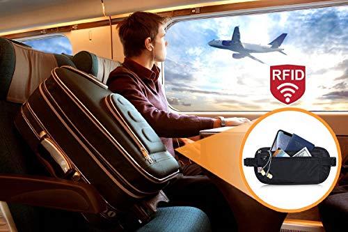 RFID Blocking Travel Wallet - Money Belt & Passport Holder, Waist Pack for Women Men - Black