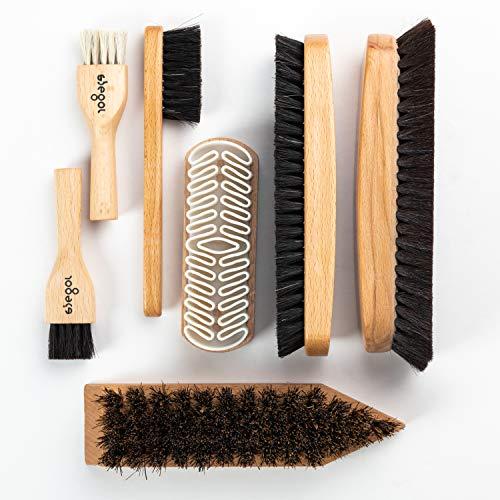 Siegol Bürstenset 7-teilig - Rosshaarbürsten - Kreppbürste - Kokosnuss-Schmutzbürste - Auftragsbürsten - Glanzbürste + gratis Poliertuch