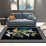 Kunsen Cuadros Decoracion Salon Grandes alfombras Infantiles Alfombra de salón con Estampado de Mariposas Cuadros cabecero Cama Matrimonio 2ft 7.5' X3ft 11.2'