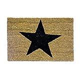 Relaxdays – Felpudo con una Estrella Impresa para la Entrada de su hogar Hecho de Fibras de Coco y PVC con Medidas 40 x 60 cm Antideslizante Elemento Decorativo, Color Natural