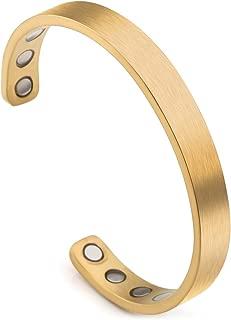 Jovivi Personalized Custom Titanium Magnetic Matte Plain Cuff Bangle Bracelets for Men Women Therapy, 8mm,Gold Plated/Black/Silver/Rose Gold
