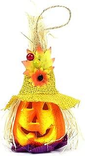 BESTOYARD Cute Halloween Pumpkin Scarecrow Lantern Light Happy Halloween Party Decoration (Yellow Hat)
