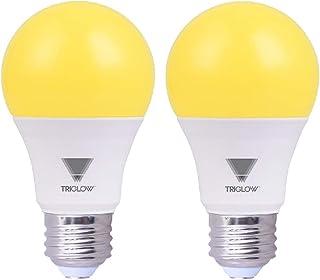TriGlow Yellow LED A19 Light Bulb, 9W (60W Equivalent) Yellow Bug Light Bulb, 2-Pack Bug Light Bulbs Outdoor