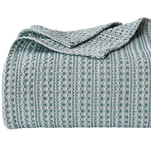 PHF Cotton Waffle Blanket Queen Size (90 x 90 inches) Yarn Dyed Weave Bed Texture Home Decor Softness Comfort Lightweight All-Season Green
