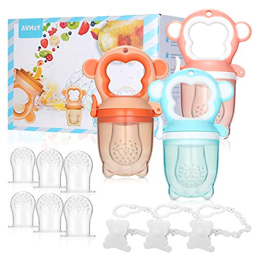 Baby Food Feeder AVHzY Silicone Baby Teething Pacifier(3 Pack), Baby Fruit Feeder with 3 Sizes Soft Safe Nipple and 3 Pacifier Clips, Teething Toys for Babies Toddlers Kids