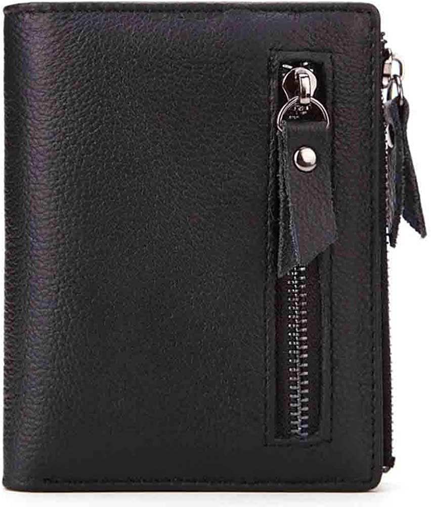 Mens Slim Front Pocket Genuine Leather Wallet, Bifold Card Case with ID Window & RFID Blocking, Card/Photo Holder with 2 Zippers Bags, Stylish Coin Pocket