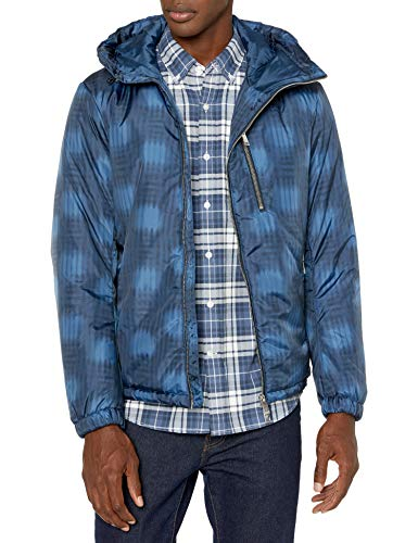 Armani Exchange A|X Herren Asymetric Zip Ribbed Puffer Jacket Jacke, Navy/Sargasso, X-Small