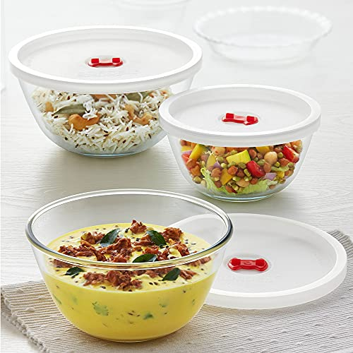 Borosil Glass Solid Serving & Mixing Bowls with Lids, Oven & Microwave Safe Bowls, Set of 3 (500 ml + 900 ml + 1.3 L),...