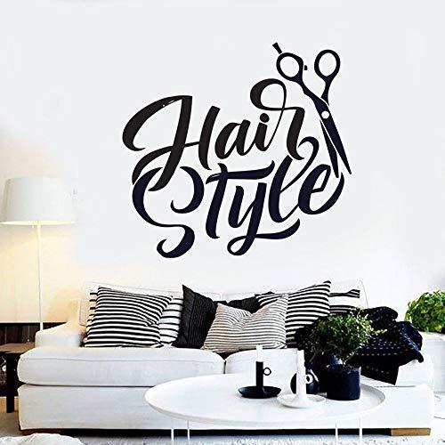 Barbería pared calcomanía arte etiqueta de la pared decoración de la habitación salón de belleza estilo de cabello tijeras tatuaje