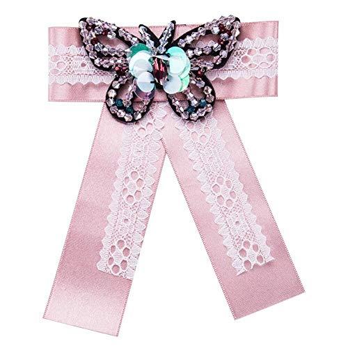 Udol Pajarita Formal Continental cómodos, prácticos y Bufandas de Regalo de Moda Arco de Damas Ramillete Sombrero Broche de joyería de Moda pañuelos Hijab Pajarita pre-Atada Ajustable (Color : Pink)