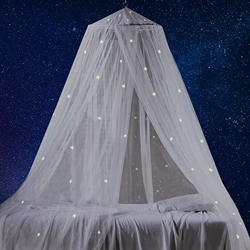 Tyhbelle Baby Betthimmel mit fluoreszierenden Sternen, leuchtet im Dunkeln, tolles Geschenk für Babybett, Kinderbett (Mit fluoreszierenden Sternen)