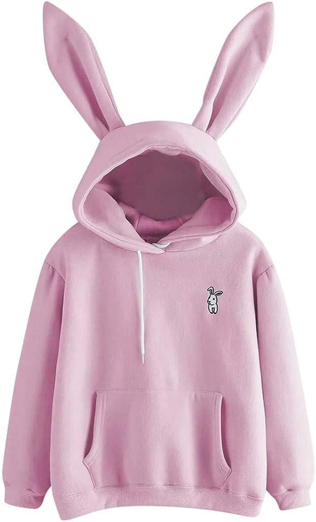 Crewneck Sweatshirt for Women Long Sleeve Hoodie Cartoon Bunny Ear Loose Drawstring Pullover Sweatshirt for Teen Girls