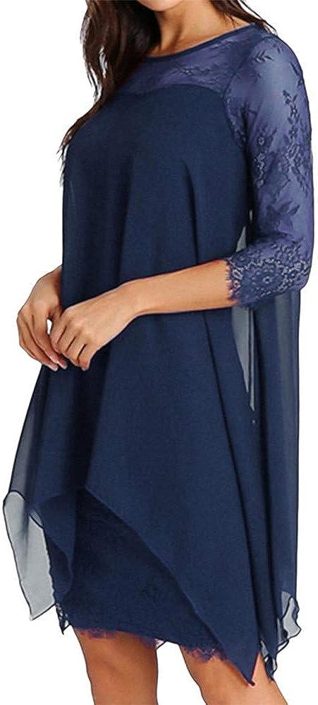LOKODO Women Fashion Chiffon Midi Dresses Overlay Three Quarter Sleeve Lace Dress Oversize Summer Flowy Mini Dress