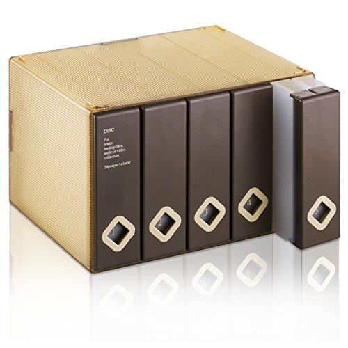 AhfuLife CD/DVD/Blu-ray Aufbewahrung Boxen Farbenfrohe Platzsparende Transport-Hüllen für Auto und Zuhause bis zu 120 Discs (Braun)