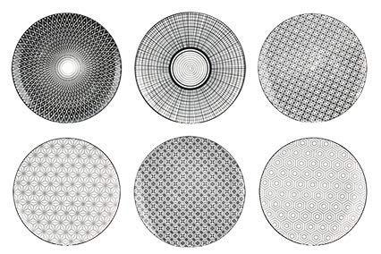 """Ard'time """"Komaé"""" Teller aus Steingut, Schwarz-Weiß, 6Stück, Porzellan, 6 geometrische Panaches, 26 x 26 x 2 cm"""