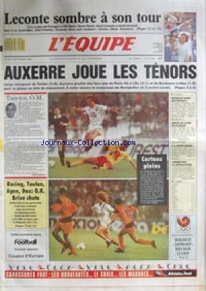EQUIPE (L) [No 13166] du 05/09/1988 - LECONTE SOMBRE - AUXERRE JOUE LES TENORS - OM - RACING - TOULON - AGEN - DAX - BRIVE - ATHLETISME - BRIGE - AUTO- JARIER.