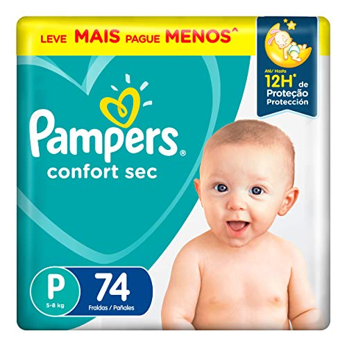 Fralda Pampers Confort Sec P 74 Unidades, Pampers, P (Pequeno), pacote de 74