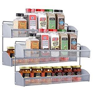 YOMYM Estanterías metálicas para Especias con estantes, Montaje en Pared Cocina Organizador de Especias, Cocina Baño Estante Especiero de Pie Encimera Organizador Multiuso para Especias (2 Capas)