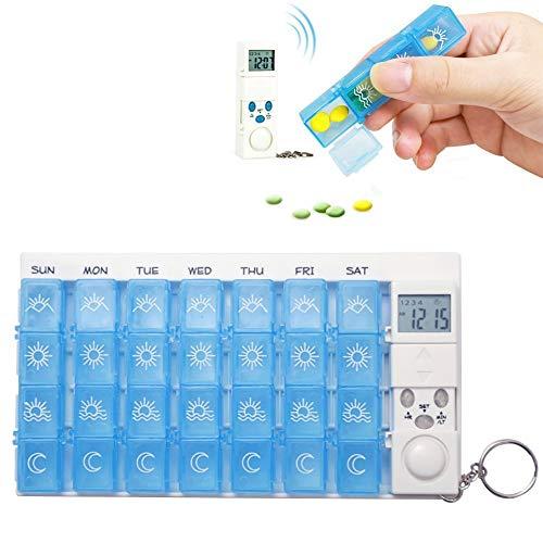N /A YXY-Tech Digitale Pillenbox Elektronische Digital Pillendose Automatische Pillenbox Tablettenbox Automatische Tabletten Spender mit Erinnerung Wöchentlich Elektronische Pille Erinnerung