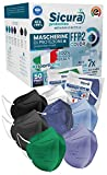 50 Mascherine FFP2 Colorate Certificate CE Italia BFE ≥99%. Mascherina FFP2 Mix 7 Colori Nere, Blu Jeans Scuro, Azzurre Verdi Lavanda Grigie Scuro e Bianche. ISO dispositivi Medici Made in italy