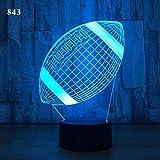 Lampe illusion 3D VeilleuseNouveauté Acrylique Lampe de Table Chambre Décoration Enfants Cadeau Bande Dessinée Balle Sport Joueur Jeux Olympiques Rugby Football USB7 couleurs(télécommande)