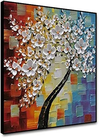 shensu Framed 3D Floral Canvas Wall Art White Flower Tree Colorful Background Oil Painting Prints product image