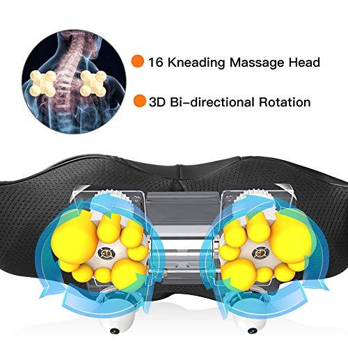 516hVUVBHYL - Masajeador de Cuello Hombros Espalda Eléctrico con Función de Calor, Shiatsu Masajeador Cervical, Masaje de Rotación 3D, Velocidad Ajustable, Relajación para Cuello y Hombros en Casa, Oficina o Coche