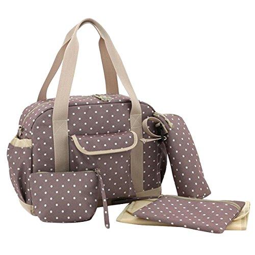 Aivtalk Schultertasche Mutter Windeltasche Handtasche Punkte Drucken Wickeltasche von 5 Set Polyester Babytasche mit Große Kapazität Mama Tasche - Khaki