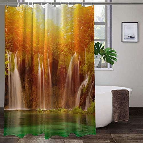 XCBN Rideaux de Douche imprimés 3D Tissu imperméable écran de Bain décor de Baignoire à la Maison pour Le Rideau de Salle de Bain avec Crochet A2 90x180 cm