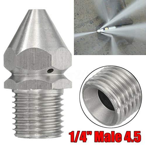 TOOLSTAR Boquilla de limpieza, SS304 boquilla de limpieza de tubería de alcantarillado de presión boquilla de desagüe para lavadora a presión, plateado